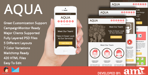 ThemeForest Aqua Corporate Flat Email Template 5284846