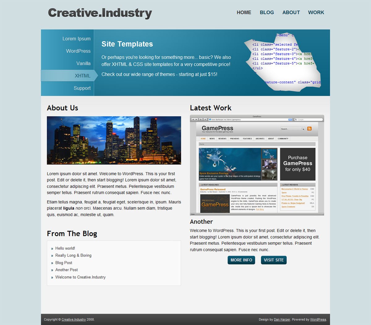 Creative.Industry - Homepage with blue colour scheme (default)