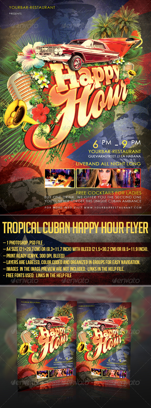 Tropical Cuban Happy Hour Flyer - Clubs & Parties Events