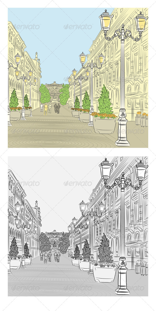 GraphicRiver Cityscape of Wide Avenue 5285942