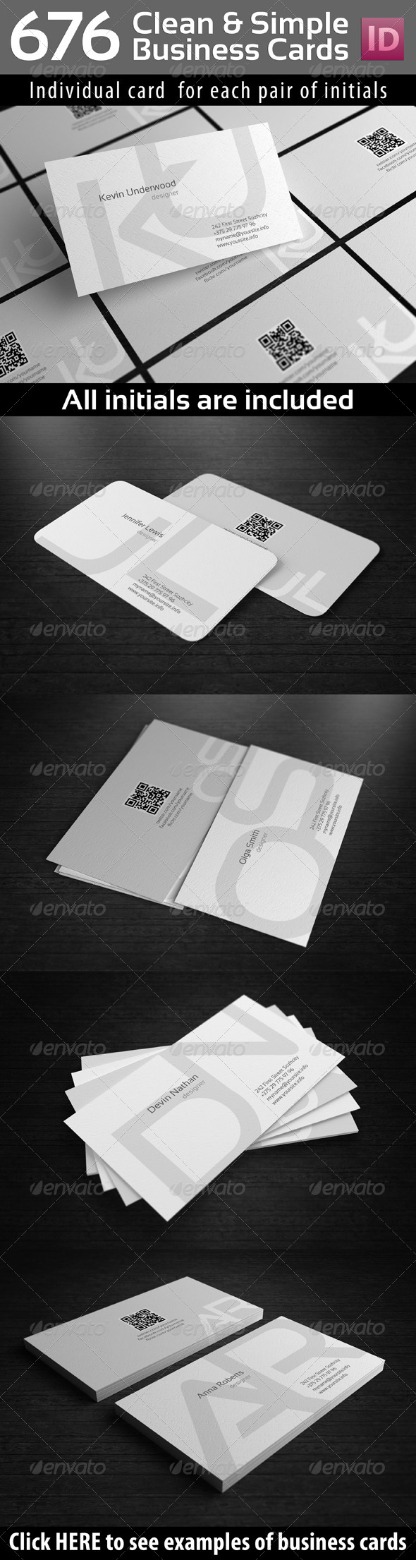 GraphicRiver Initials Clean Simple Business Cards with QR-Code 5286069