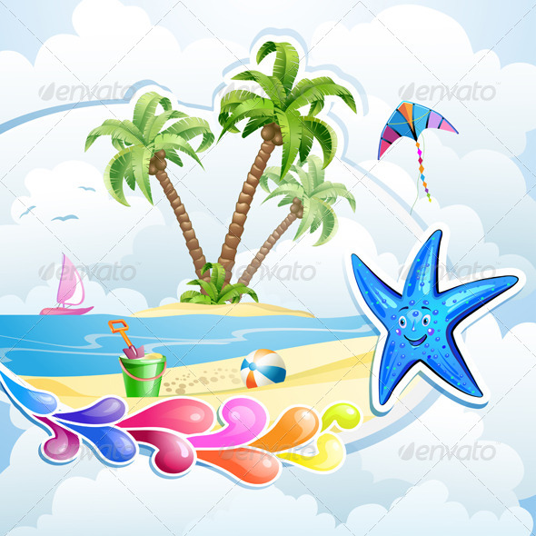GraphicRiver Summer Beach with Palm Trees 5286130