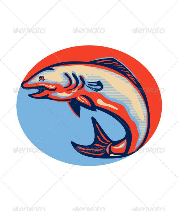 GraphicRiver Atlantic Salmon Fish Jumping Retro 5286165