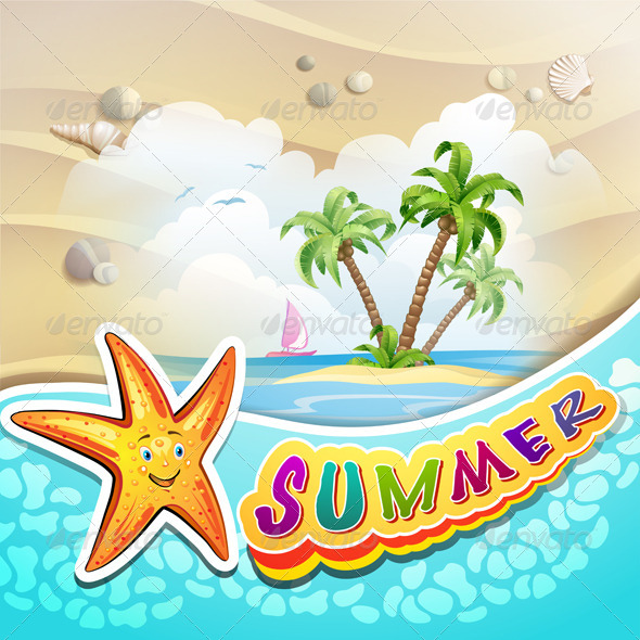 GraphicRiver Summer Beach with Palm Trees 5286192