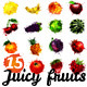 Set of 15 Fruits Made of Colourful Splashes - GraphicRiver Item for Sale