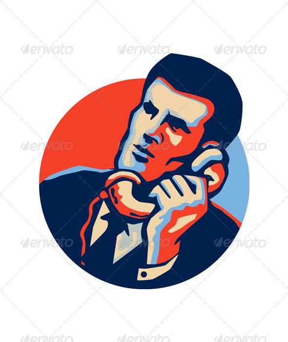 GraphicRiver Businessman Talk Telephone Retro 5286220