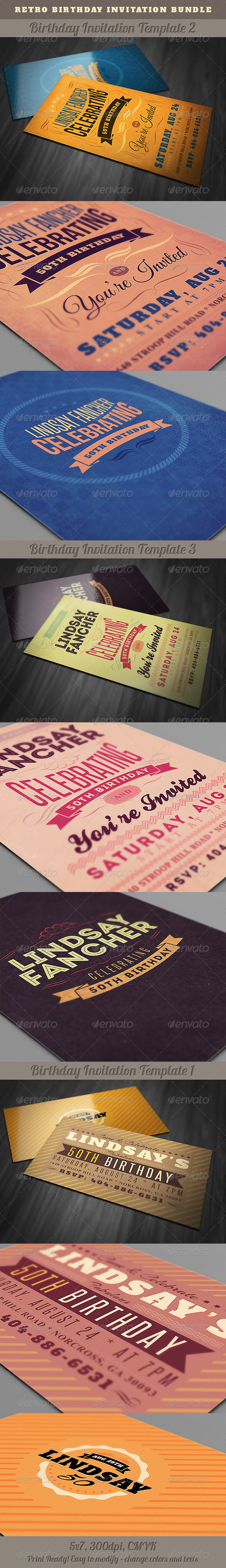 GraphicRiver Retro Birthday Invitations Bundle 5286758