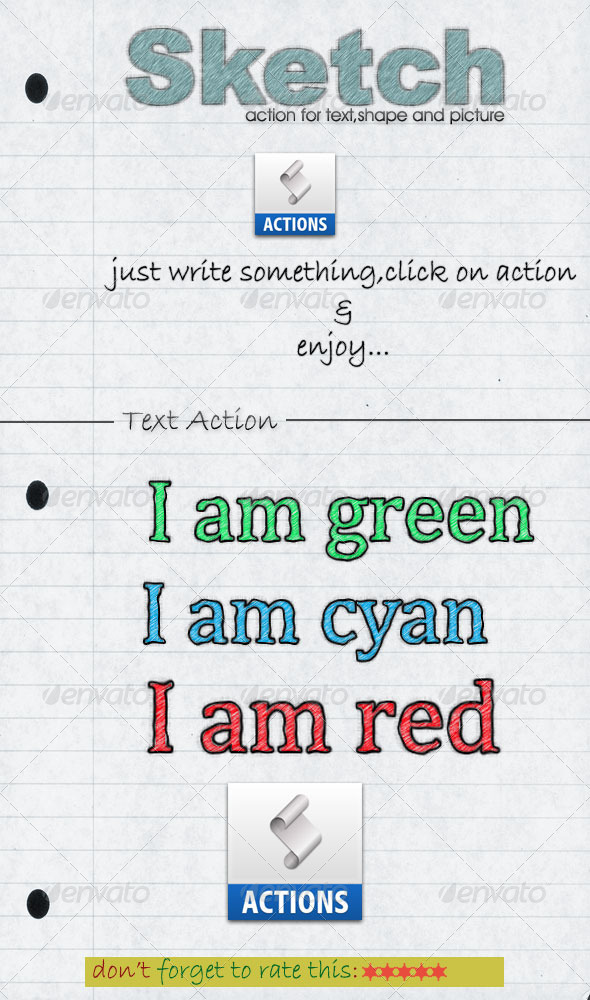 GraphicRiver Sketch Text Action-UNlimited Color 5272045