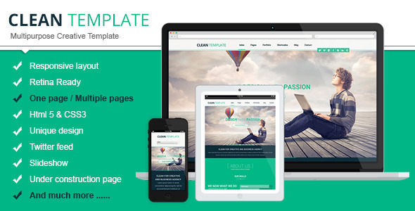Clean Responsive Retina Ready Template - Creative Site Templates