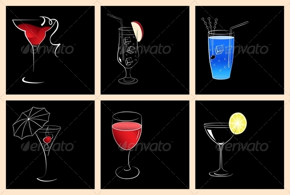 GraphicRiver Cocktail and Wine Glasses 5289375