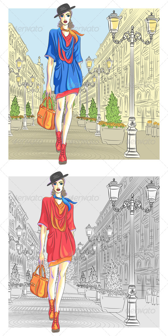 GraphicRiver Vector Attractive Fashion Girl goes for St Petersburg 5290164