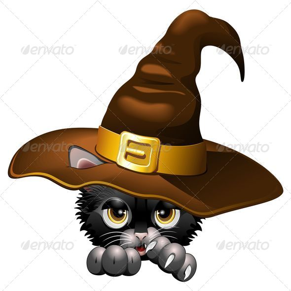 GraphicRiver Black Kitten Cartoon with Witch Hat 5290255