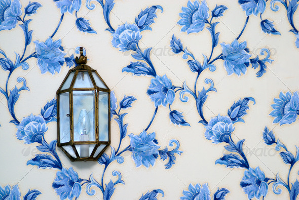 Lamp on vintage wallpaper - Stock Photo - Images