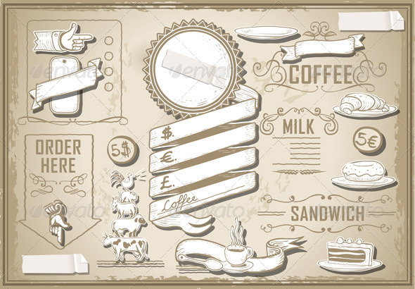 GraphicRiver Vintage Graphic Elements Set for Bar Menu 5291841