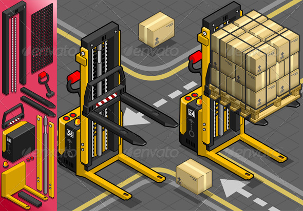GraphicRiver Isometric Forklift in Two Positions in Front View 5292026