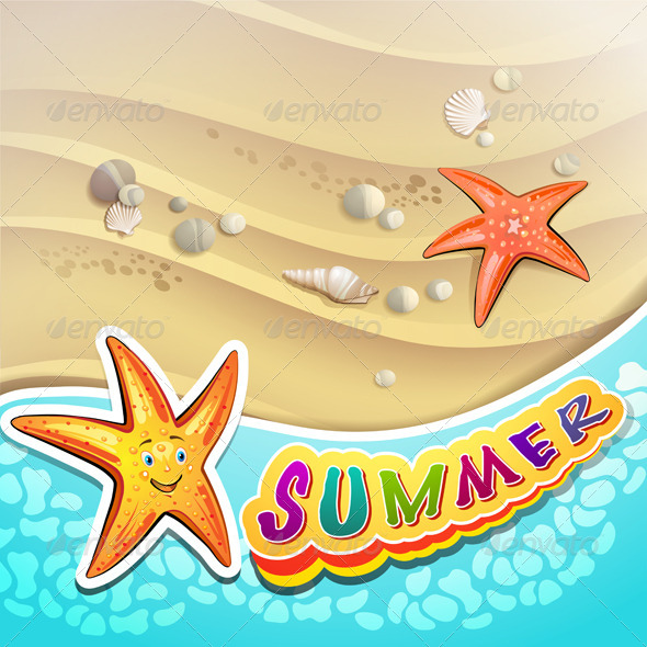 GraphicRiver Summer Beach with Starfish 5292567