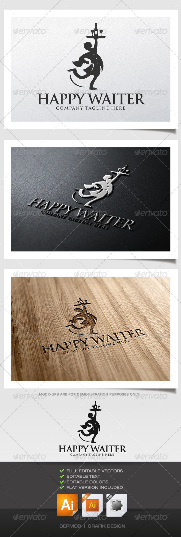 GraphicRiver Happy Waiter Logo 5292675