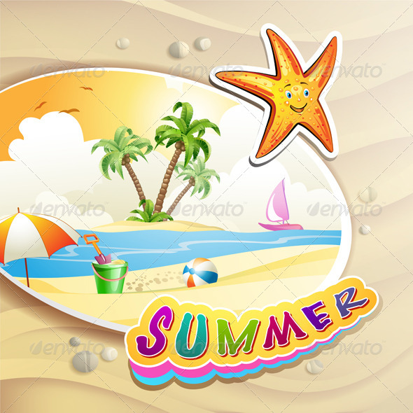 GraphicRiver Summer Beach with Palm Trees 5292765