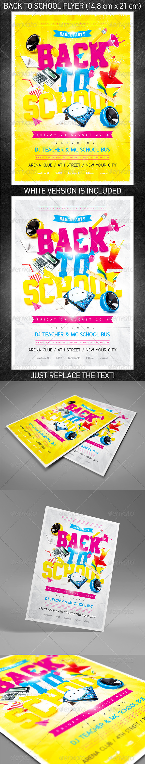 GraphicRiver Back to School Party Flyer 5292774