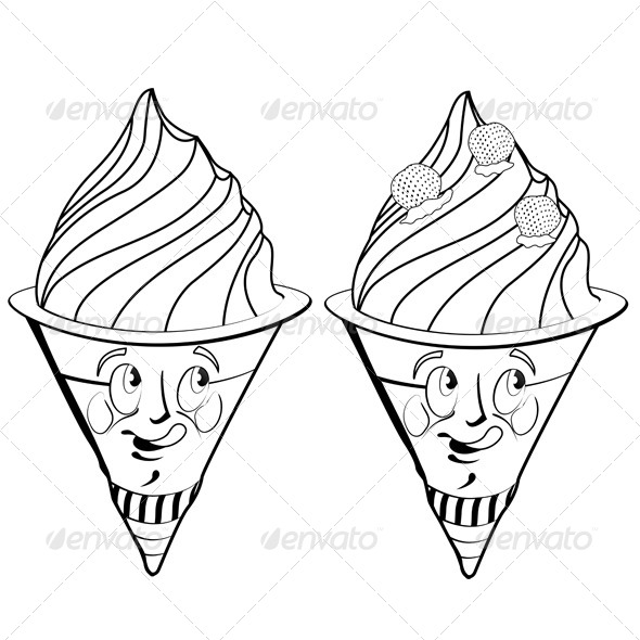 GraphicRiver Strawberry Ice Cream Cartoon 5292783