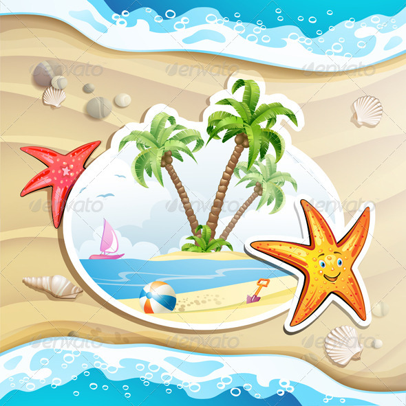 GraphicRiver Summer Beach with Palm Trees 5292888