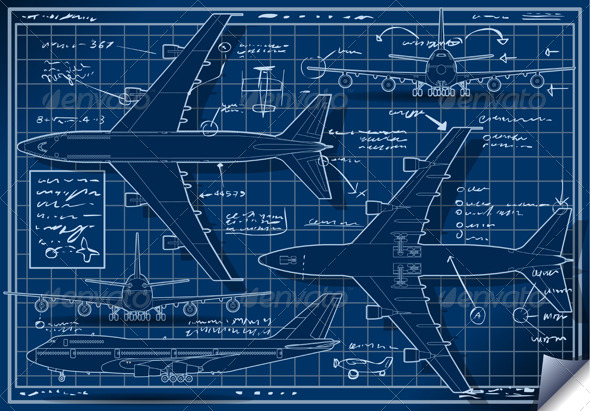 GraphicRiver Plane Blue Project in Five Orthogonal Views 5293195