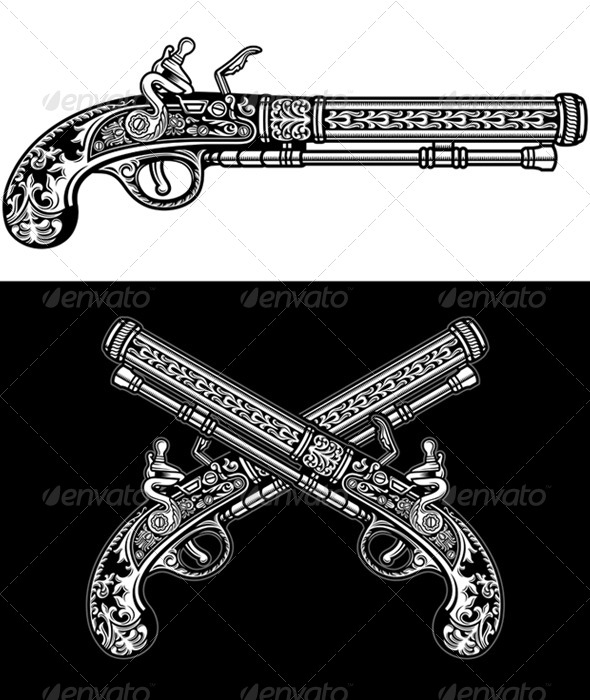 GraphicRiver Flintlock Antique Pistol 5293571