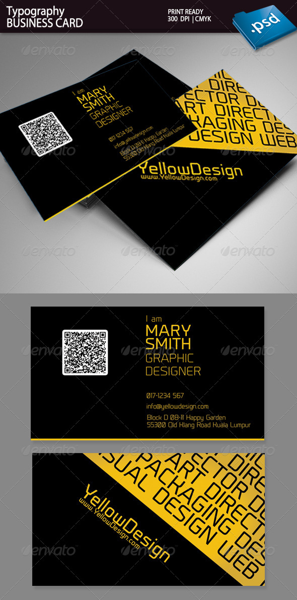 GraphicRiver Typography Business Card 5294193