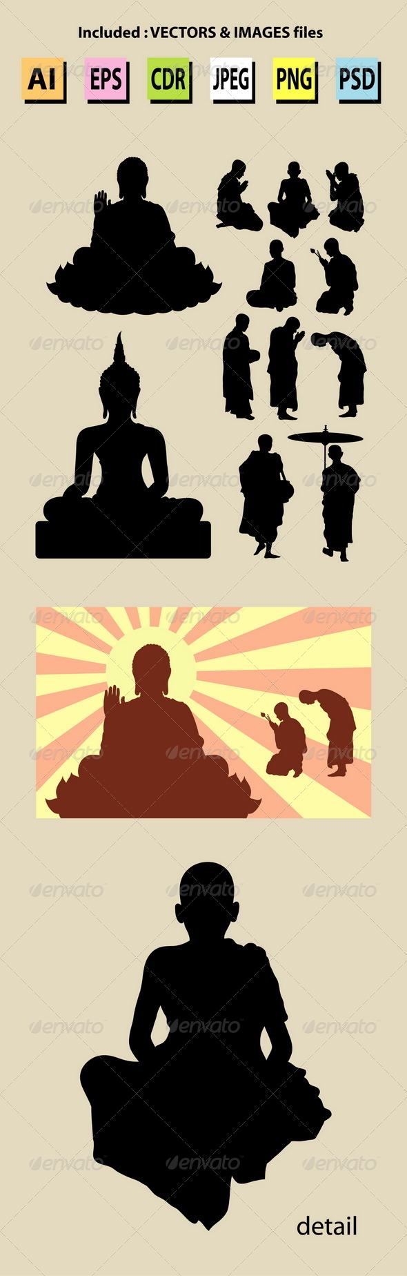 GraphicRiver Monk and Buddha Silhouettes 5295993