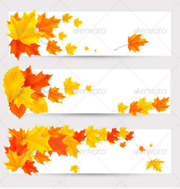 GraphicRiver Set of Autumn Banners with Colorful Leaves 5296391