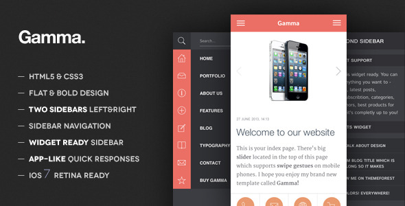 Gamma - Mobile Retina | HTML5 and CSS3