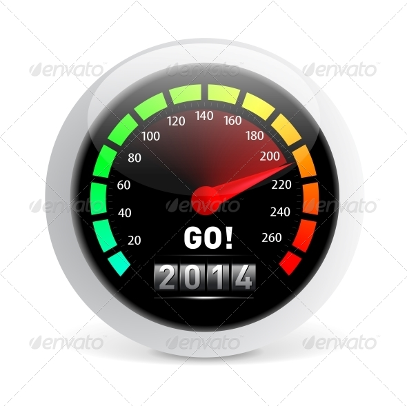 GraphicRiver 2014 Year Calendar Speedometer Car 5298820