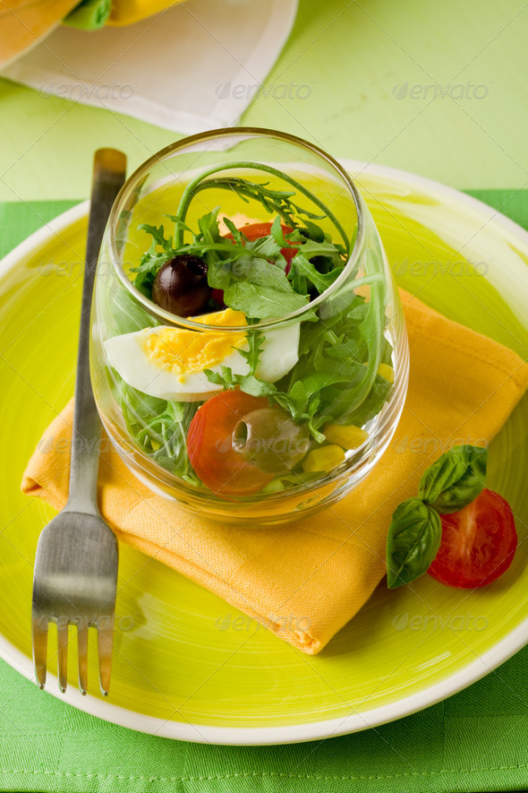 Mixed Salad inside a Glass - Stock Photo - Images