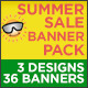 Summer Banner Pack - 3 Designs -36 Banners - GraphicRiver Item for Sale