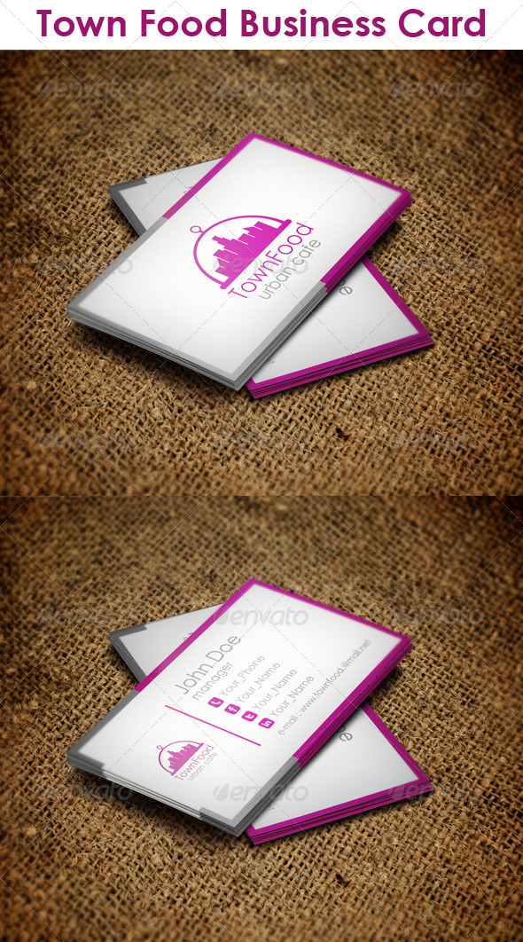 Town Food Business Card - Corporate Business Cards