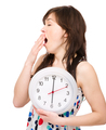 Young woman is holding big clock - PhotoDune Item for Sale