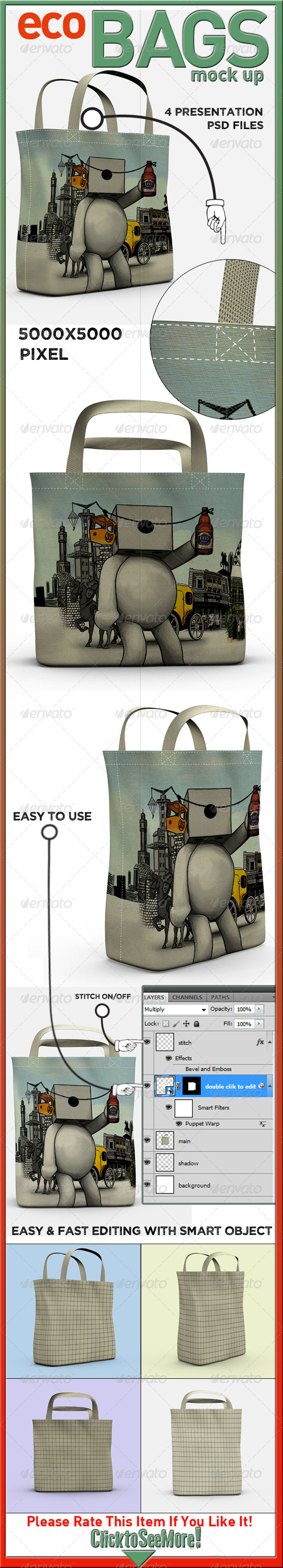 Eco Bags Mock Up - Product Mock-Ups Graphics