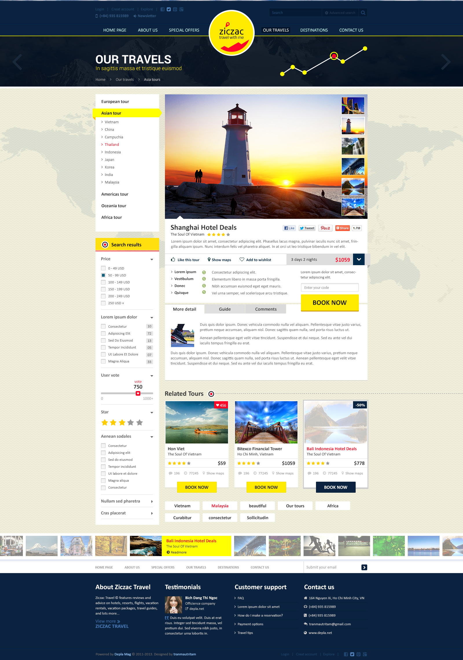 Ziczac Travel – Online Booking PSD Templates