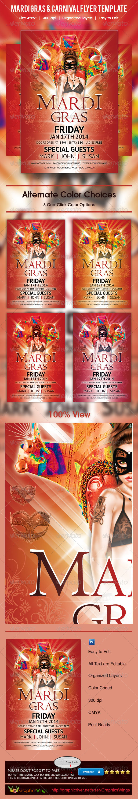 GraphicRiver Mardi Gras And Carnival Flyer Template 5248287