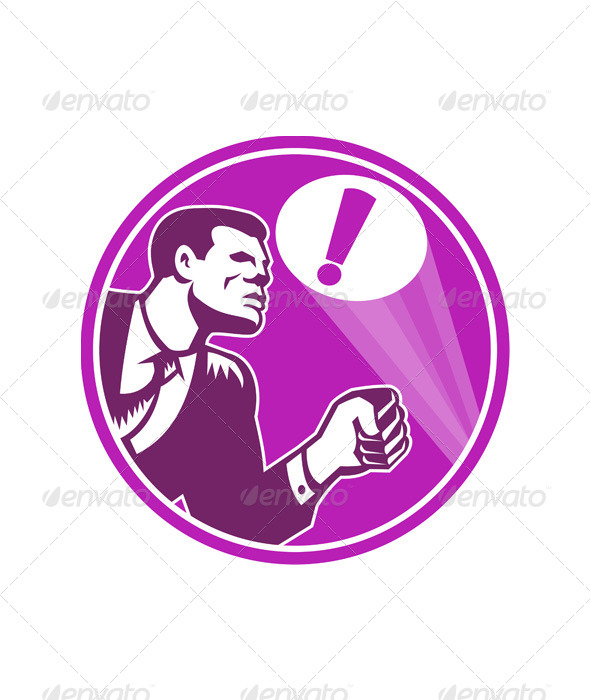 GraphicRiver Businessman Responding Emergency Signal Retro 5307341