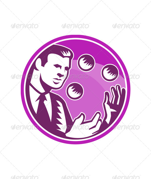 GraphicRiver Businessman Juggler Juggling Balls Retro 5307348