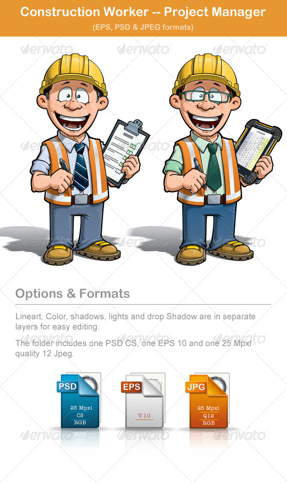 GraphicRiver Construction Worker Project Manager 5308101