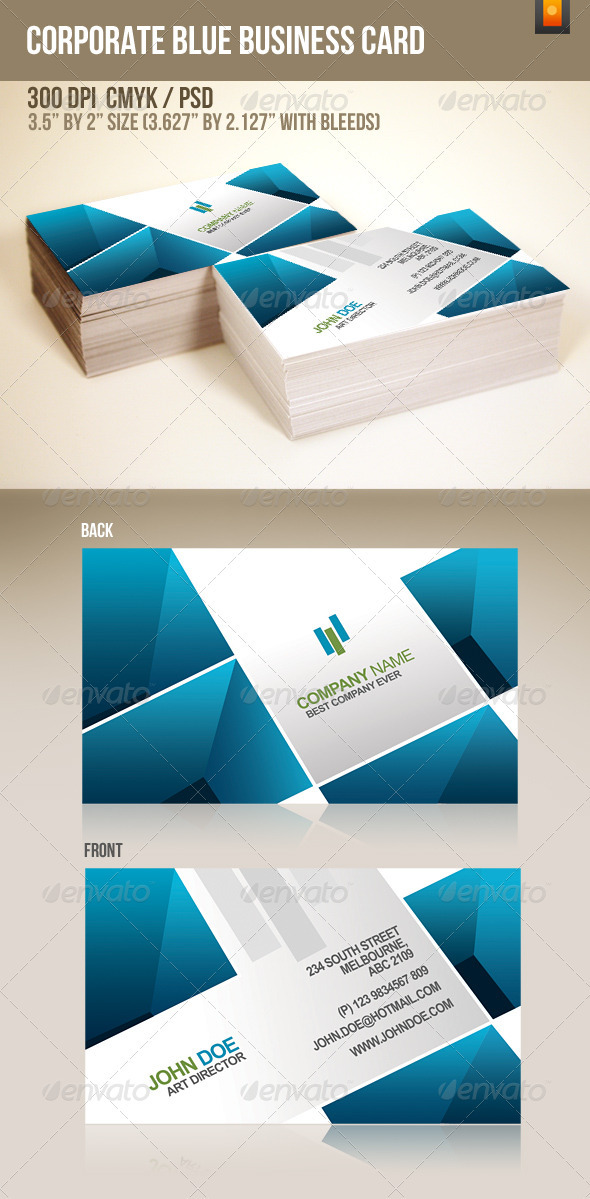 Corporate Blue Business Card - Corporate Business Cards