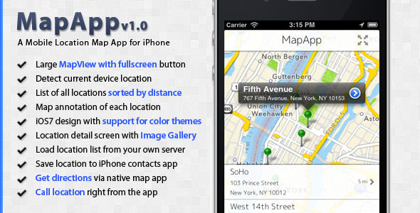 CodeCanyon MapApp Titanium Mobile Location Map App Template 5309830
