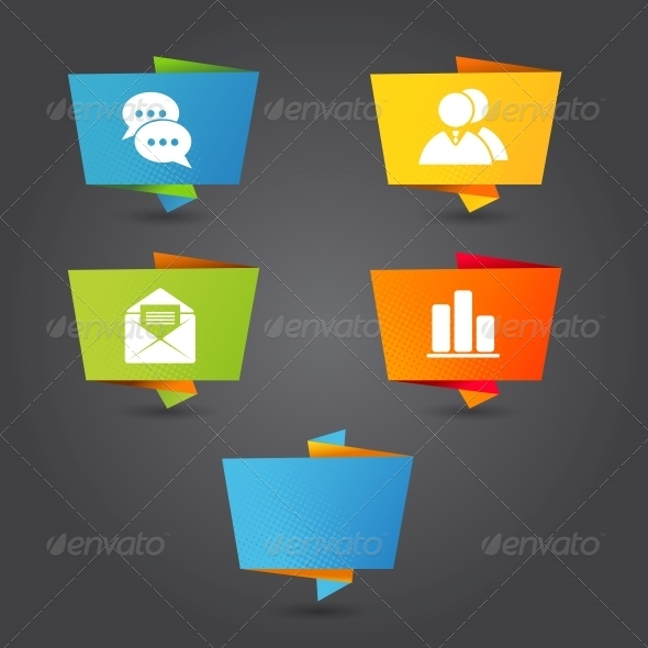 GraphicRiver Origami Banner with Office Icons 5310063