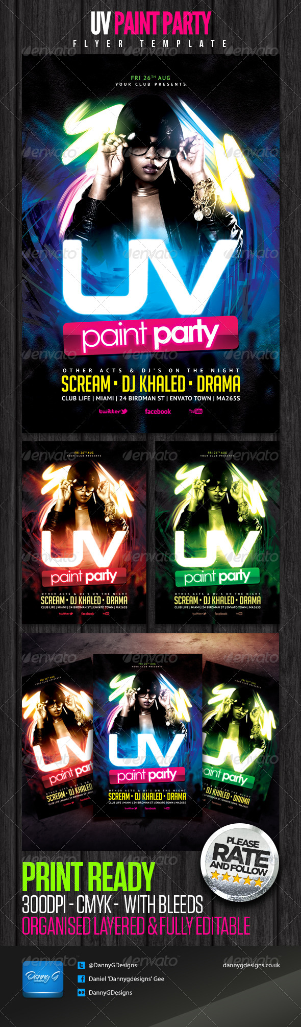 UV Paint Party Flyer Template - Clubs & Parties Events