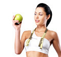Healthy woman with apple and bottle of water - PhotoDune Item for Sale