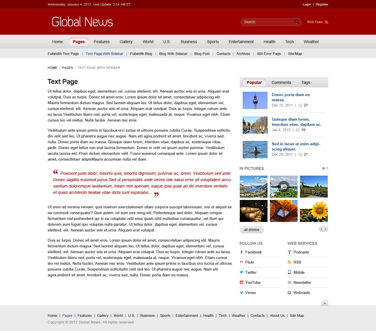 Global News Portal - HTML5 & CSS3 Template
