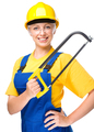 Young construction worker with hacksaw - PhotoDune Item for Sale