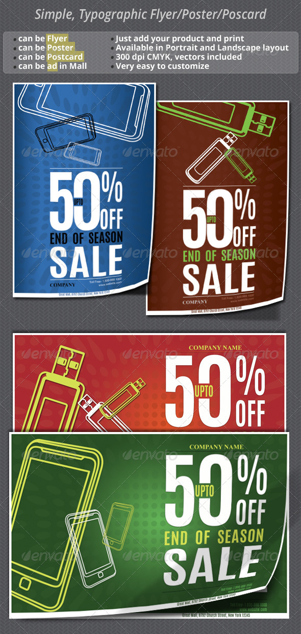 GraphicRiver Simple Typographic Sale Flyer Poster Postcard 5312579